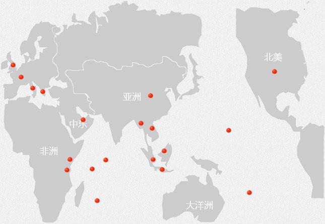 八大洲旅游酒店/度假村分布图